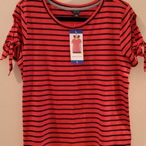 Red top with blue stripes